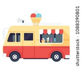 food truck menu with ice cream ... | Shutterstock .eps vector #1088390801