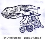 flash astronomy. inked human... | Shutterstock .eps vector #1088393885