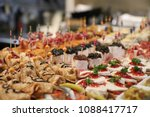 spanish tapas called pintxos of ... | Shutterstock . vector #1088417717