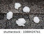 hail in on roof after hailstorm ...   Shutterstock . vector #1088424761