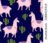 seamless pattern with a cute... | Shutterstock .eps vector #1088425415