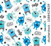 seamless cool monsters pattern... | Shutterstock .eps vector #1088429639