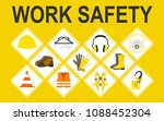 work safety vector icons set ... | Shutterstock .eps vector #1088452304