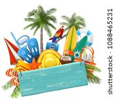 vector beach concept with blue... | Shutterstock .eps vector #1088465231