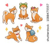 shiba inu illustrations set.... | Shutterstock .eps vector #1088475557