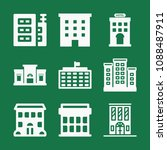 filled set of 9 apartment icons ... | Shutterstock .eps vector #1088487911
