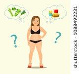 fat woman chooses between a... | Shutterstock .eps vector #1088492231