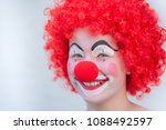 Funny Kid Clown With Red Hair...