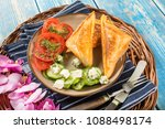 sandwiches with cheese ... | Shutterstock . vector #1088498174