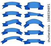 set of ten blue ribbons and... | Shutterstock . vector #1088534891