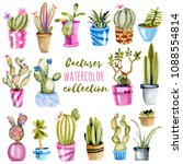 watercolor cactuses in a pots... | Shutterstock . vector #1088554814