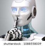 robot with finger on lips...   Shutterstock . vector #1088558039