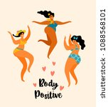 body positive. happy plus size... | Shutterstock .eps vector #1088568101