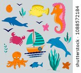vector clipart sea images set | Shutterstock .eps vector #1088572184