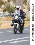 Small photo of Ramat Negev, Israel - May 06, 2018: Motorcycle accompanying a stage 3 of Giro d'Italia from Beer Sheba to Eilat