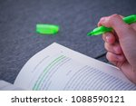Small photo of Green Highlight Highlighter Held By Girl Woman Hand School Study Book Marking