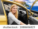 young woman driving a car on... | Shutterstock . vector #1088606825