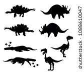 set of dinosaurs silhouettes | Shutterstock .eps vector #1088610047