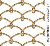 nautical  yellow rope woven ... | Shutterstock .eps vector #1088613437