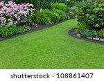 green lawn in a colorful... | Shutterstock . vector #108861407