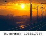 russian railway at sunset | Shutterstock . vector #1088617394