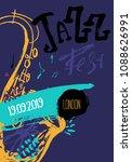 grunge freehand jazz music... | Shutterstock .eps vector #1088626991