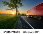 truck driving on the asphalt... | Shutterstock . vector #1088628584