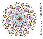 coloring book for adults and... | Shutterstock .eps vector #1088634587