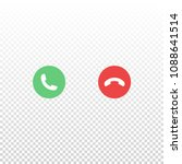 vector red and green phone icon ...