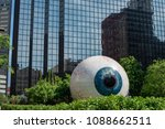 Small photo of Dallas, Texas - May 7, 2018: The Eye is a statue in downtown Dallas, Texas located at the Joule Hotel.