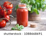 tomato juice in glasses and... | Shutterstock . vector #1088668691