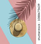 straw hat and shadow of...   Shutterstock . vector #1088675639