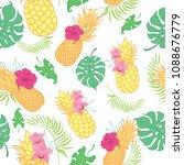 tropical pineapples seamless... | Shutterstock .eps vector #1088676779