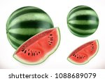 watermelon. fresh fruit 3d... | Shutterstock .eps vector #1088689079