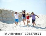 ecstatic young people running... | Shutterstock . vector #108870611