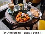 seared harissa breakfast   Shutterstock . vector #1088714564