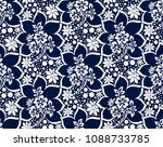 seamless rich damask dark blue... | Shutterstock .eps vector #1088733785