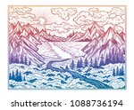 wilderness landscape scene with ... | Shutterstock .eps vector #1088736194
