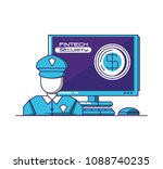 desktop computer with financial ... | Shutterstock .eps vector #1088740235