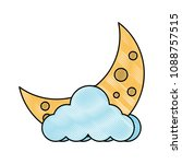 cloud and moon icon | Shutterstock .eps vector #1088757515