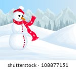 winter background with smiling... | Shutterstock .eps vector #108877151