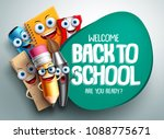 Stock vector back to school vector banner design with colorful funny school characters a education items and 1088775671