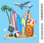summer travel suitcase and... | Shutterstock .eps vector #1088800505