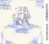 nautical seamless pattern with... | Shutterstock .eps vector #1088806454