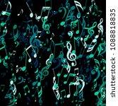 falling musical symbols.... | Shutterstock .eps vector #1088818835