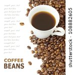coffee cup and coffee beans... | Shutterstock . vector #108882605