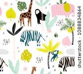 seamless pattern with giraffe ... | Shutterstock .eps vector #1088834864