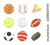 cartoon colorful ball set.... | Shutterstock . vector #1088834945