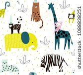 seamless pattern with giraffe ... | Shutterstock .eps vector #1088838251