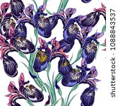 floral  wallpaper pattern with... | Shutterstock .eps vector #1088843537